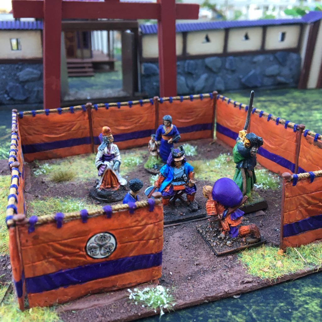Miniatures by Perry Miniatures and others. Jin-Maku walls by Perry Miniatures.
