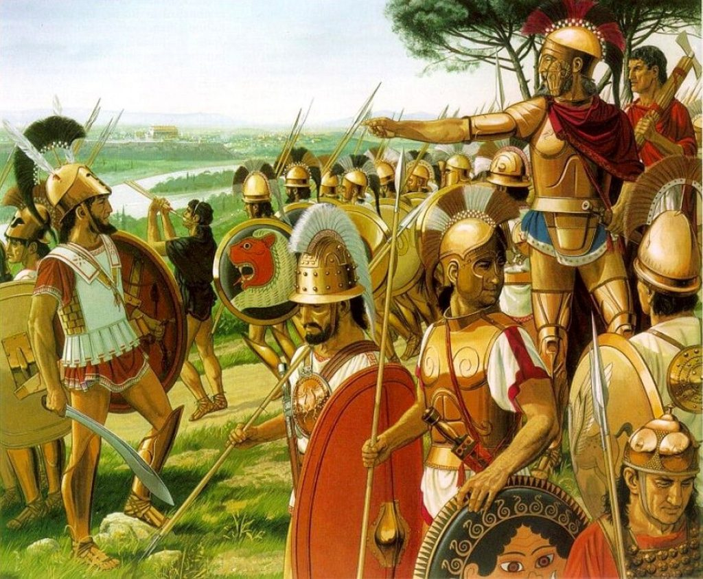 Lars Pursenas (depicted right and center, standing in full Hoplite armor, pointing towards Rome) commands his Etruscan army departing from their camp on the opposite side of the Tibre River to Rome.